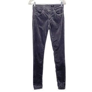 AG Adriano Goldschmied The Legging Super Skinny Velvet Pants Gray 26R